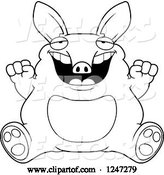 Vector of Cartoon Black and White Fat Aardvark Sitting and Cheering by Cory Thoman
