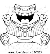 Vector of Cartoon Black and White Fat Business Cat Sitting and Cheering by Cory Thoman