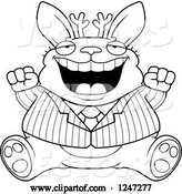 Vector of Cartoon Black and White Fat Business Jackalope Sitting and Cheering by Cory Thoman