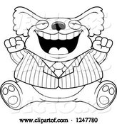 Vector of Cartoon Black and White Fat Business Koala Sitting and Cheering by Cory Thoman