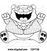 Vector of Cartoon Black and White Fat Business Panda Sitting and Cheering by Cory Thoman