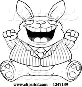 Vector of Cartoon Black and White Fat Business Rabbit Sitting and Cheering by Cory Thoman