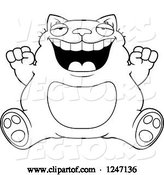 Vector of Cartoon Black and White Fat Cat Sitting and Cheering by Cory Thoman