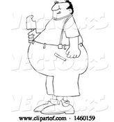 Vector of Cartoon Black and White Fat Guy Eating Ice Cream by Djart