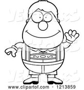 Vector of Cartoon Black and White Friendly Waving Oktoberfest German Boy by Cory Thoman