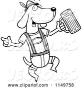 Vector of Cartoon Black and White German Oktoberfest Wiener Dog by Cory Thoman