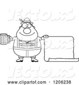 Vector of Cartoon Black and White Happy Chubby Oktoberfest German Guy Holding a Beer and Sign by Cory Thoman