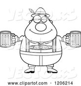 Vector of Cartoon Black and White Happy Chubby Oktoberfest German Guy Holding Two Beers by Cory Thoman