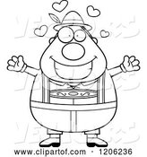 Vector of Cartoon Black and White Happy Chubby Oktoberfest German Guy Wanting a Hug by Cory Thoman