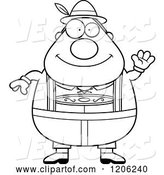 Vector of Cartoon Black and White Happy Chubby Oktoberfest German Guy Waving by Cory Thoman