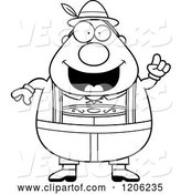 Vector of Cartoon Black and White Happy Chubby Oktoberfest German Guy with an Idea by Cory Thoman