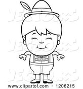 Vector of Cartoon Black and White Happy Oktoberfest German Boy by Cory Thoman