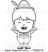 Vector of Cartoon Black and White Happy Oktoberfest German Boy Cheering by Cory Thoman