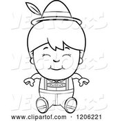 Vector of Cartoon Black and White Happy Oktoberfest German Boy Sitting by Cory Thoman