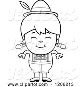 Vector of Cartoon Black and White Happy Oktoberfest German Girl by Cory Thoman