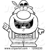 Vector of Cartoon Black and White Happy Short Oktoberfest German Guy with an Idea by Cory Thoman