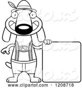 Vector of Cartoon Black and White Happy Skinny German Oktoberfest Dachshund Dog Wearing Lederhosen by Cory Thoman