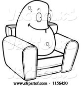 Vector of Cartoon Black and White Lazy Couch Potato on a Chair by Cory Thoman