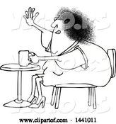 Vector of Cartoon Black and White Lineart Chubby Lady Sitting with Coffee at a Table and Waving with a Flabby Arm by Djart