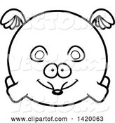 Vector of Cartoon Black and White Lineart Chubby Mouse Flying by Cory Thoman