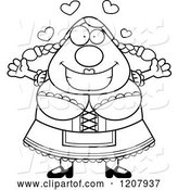 Vector of Cartoon Black and White Loving Chubby Oktoberfest German Lady by Cory Thoman