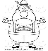 Vector of Cartoon Black and White Mad Chubby Oktoberfest German Guy by Cory Thoman