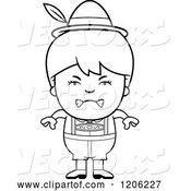 Vector of Cartoon Black and White Mad Oktoberfest German Boy by Cory Thoman