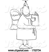 Vector of Cartoon Black and White Male Angel Wearing a Protective Medical Mask by Djart