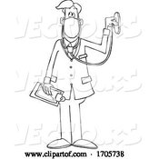Vector of Cartoon Black and White Male Doctor Wearing a Medical Mask with Stethoscope by Djart