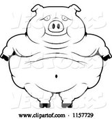 Vector of Cartoon Black and White Obese Pig Standing by Cory Thoman