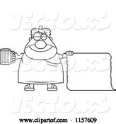 Vector of Cartoon Black and White Plump Frat Guy Holding Beer and a Blank Scroll by Cory Thoman