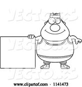Vector of Cartoon Black and White Plump Gym Guy with a Sign by Cory Thoman