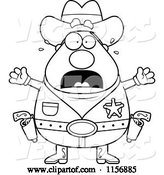 Vector of Cartoon Black and White Plump Scared Sheriff by Cory Thoman
