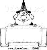 Vector of Cartoon Black and White Plump Witch Looking over a Blank Banner by Cory Thoman