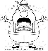Vector of Cartoon Black and White Scared Chubby Oktoberfest German Guy by Cory Thoman