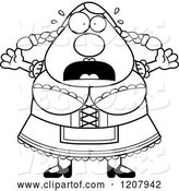 Vector of Cartoon Black and White Scared Chubby Oktoberfest German Lady by Cory Thoman