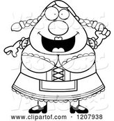 Vector of Cartoon Black and White Smart Chubby Oktoberfest German Lady by Cory Thoman