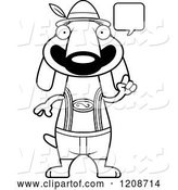 Vector of Cartoon Black and White Talking Skinny German Oktoberfest Dachshund Dog Wearing Lederhosen by Cory Thoman