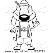 Vector of Cartoon Black and White Waving Skinny German Oktoberfest Dachshund Dog Wearing Lederhosen by Cory Thoman