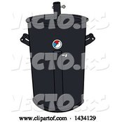 Vector of Cartoon Black Barrel Bbq Cooker by LaffToon
