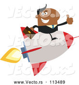 May 4th, 2018: Vector of Cartoon Black Business Man Holding a Thumb up and Flying on a Rocket by Hit Toon