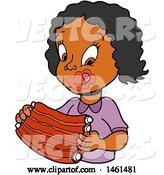 Vector of Cartoon Black Girl Licking Bbq Sauce off of Her Lips and Eating Ribs by LaffToon
