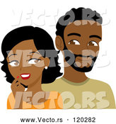 Vector of Cartoon Black Guy and Lady Looking at Each Other by Rosie Piter