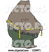 Vector of Cartoon Black Guy Measuring His Belly Fat by Djart