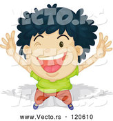 Vector of Cartoon Black Haired Boy Winking and Cheering by Graphics RF
