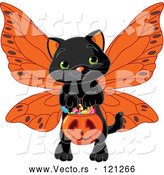 Vector of Cartoon Black Halloween Cat Wearing Wings and Trick or Treating by Pushkin