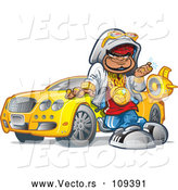 Vector of Cartoon Black Hip Hop Guy Leaning Against His Car and Decked out in Bling by Clip Art Mascots
