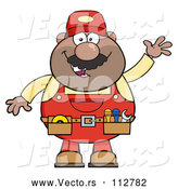 Vector of Cartoon Black or Hispanic Male Mechanic Wearing a Tool Belt and Waving by Hit Toon