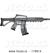 Vector of Cartoon Black Semi Automatic Assault Rifle with a Clip by Djart