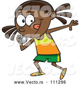 Vector of Cartoon Black Track and Field Girl Throwing a Shotput by Toonaday